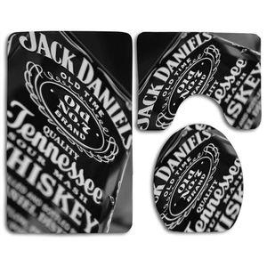 ABPHQTO Jack Daniels 3 teiliges Badteppichset Badteppich Konturmatte und Toilettendeckel Abdeckung