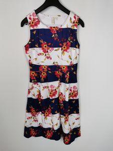 Bodyflirt Kleid mit Print, blau / weiss, Gr. 36/38