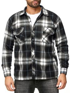 Herren Fleece Hemd Holzfäller Kariert Arbeiterjacke  , Farben:Grau-2, Größe Jacken:XL