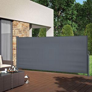 ALU Seitenmarkise Sichtschutz 160x350cm Sonnenschutz Seitenrollo Markise 280g/m²