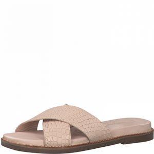 TAMARIS Damen Pantolette 1-27122-26-511 powder croco / beige, Damen Größen:36, Farben:beige