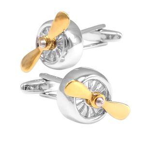 1 Paar Kupfer Manschettenknöpfe Propeller Förmig - Herren Schmuck Geschenk 17x17mm Silber und Gold