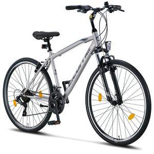 Licorne Bike Life M-V Premium Trekking Bike in 28 Zoll - Fahrrad für Jungen, Mädchen, Damen und Herren - Shimano 21 Gang-Schaltung - Herrenfahrrad - Jungenfahrrad, Farbe: Grau/Schwarz, Zoll:28.00
