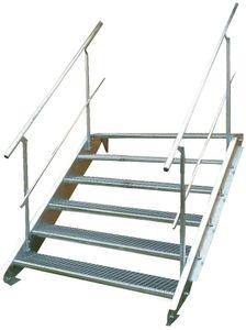 Stahltreppe 6 Stufen-Breite 100cm Variable-Höhe 90-120cm beidseit. Geländer