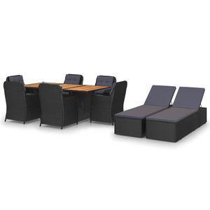 Gartenmöbel Essgruppe 8 Personen ,9-TLG. Terrassenmöbel Balkonset Sitzgruppe: Tisch mit 8 Stühle Poly Rattan Schwarz❀4670