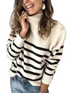 Damen hochgeschlossener gestreifter Strickpullover Langarm-Freizeitpullover,Farbe: Cremeweiß,Größe:XL