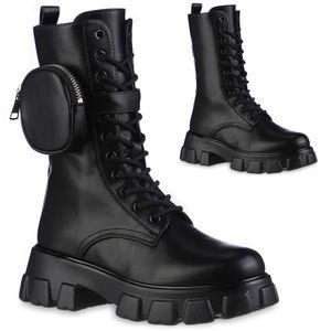 VAN HILL Damen Leicht Gefütterte Plateaustiefel Stiefel Profil-Shle Schuhe 837820, Farbe: Schwarz, Größe: 38