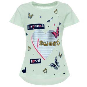 BEZLIT Mädchen T-Shirt mit Motiv Druck und Glitzer Grün 92