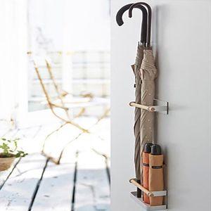 Schirmständer Regenschirm Stand Magnet Metall Regenschirmständer Wasserauffangschale Wandmontage Wandschirmständer Weiß für Flur Zuhause Büro