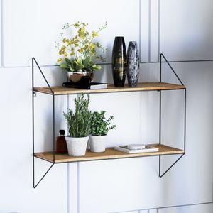 Laxllent Wandregal aus Holz-Metall Schwarz,65x60x23cm Industrial Stil Wandregal, Schweberegal für Küche,Wohn-Schlaf-Badezimmer