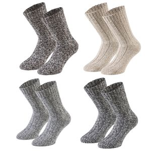 Tobeni 4 Paar warme Damen Herren Norweger Socken Wintersocken Schafwollsocken vorgewaschen Unisex, Farbe:Mehrfarbig, Grösse:35-38