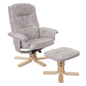 Relaxsessel M56, Fernsehsessel TV-Sessel mit Hocker, Stoff/Textil  vintage hellgrau