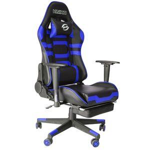 Bürostuhl Gaming Schreibtischstuhl Drehstuhl Race Chair Sportsitz + Beinauflage, schwarz/blau