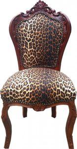 Casa Padrino Barock Esszimmer Stuhl Leopard / Braun
