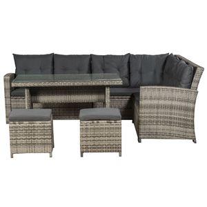 Juskys Polyrattan Sitzgruppe Lounge Santa Catalina beige-grau – Gartenmöbel-Set mit Eck-Sofa, 2 & Tisch - bis 6 Personen - wetterfest & stabil