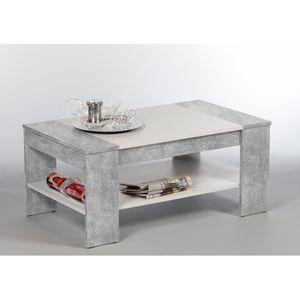 83-441-D5 Finley Plus Beton grau / weiß Couchtisch Beistelltisch Tisch mit Ablageplatte ca. 100 cm