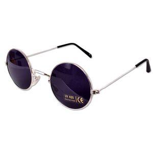 tevenger Nickelbrille Runde Nerd Sonnenbrille UV400 Rund Damen Herren Zubehör Randfarbe Silber Glas Schwarz 42mm