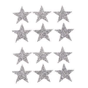 12pcs Glitzer Bügelbild Aufbügler Applikation Strass Stern Star zum Aufbügeln Bügelbilder Applikationen, Silber