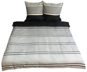 Moderne Bettwäsche 200x200 + 80x80 cm Grau Weiß gestreift mit Reißverschluss, 3-teilig