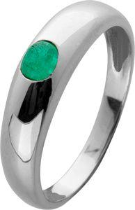 Edelstein Smaragd Ring Weißgold 585 grüner runder Smaragd Cabochon Bandring Gr. 16,2mm 16