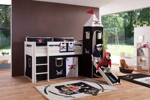 Relita - Halbhohes Spielbett Alex mit Rutsche/Turm Buche massiv weiß lackiert mit Stoffset Pirat