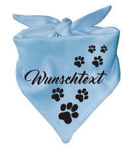 Hunde Dreiecks Halstuch (Fb: hellbau) mit Ihrem Wunschtext