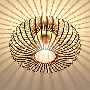 Deckenleuchte, Metall Deckenstrahler, E27&60W (ohne Leuchtmittel), Deckenlampe in Retro/Vintage Design für Schlafzimmer, Wohnzimmer, Flur, Gitterschirm, gold