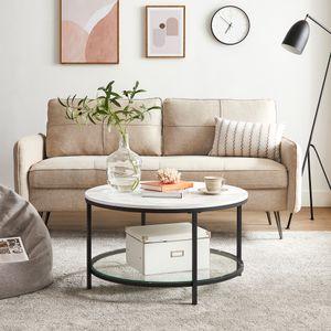 VASAGLE Couchtisch Wohnzimmertisch Sofatisch einfacher Aufbau moderner Stil weiße Marmoroptik schwarzes Gestell LCT071B13