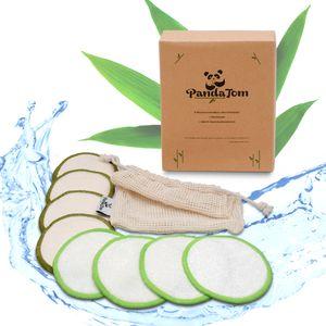 PandaTom® 12 Abschminkpads Waschbar | Wiederverwendbare Zero Waste Abschminktücher aus Baumwolle & Bambus | Wattepads für die umweltbewusste Frau