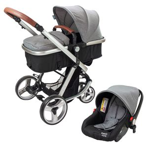 ib style® 3 ELEGANCE 3 in 1  versch. Farben/ Modelle  Kombi - Kinderwagen  Buggy Sportwagen inkl. Babyschale GRAU
