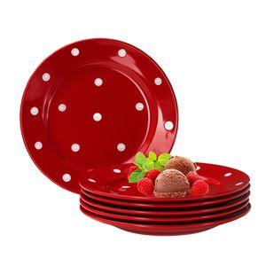 Emily 6er Set Kuchenteller rot-weiß gepunktet rund  Ø200mm Steingut Teller rund Dessertteller