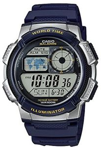 CASIO Mod. WORLD TIME ILLUMINATOR - 5 Alarms, 10 Year battery, Modell: AE-1000W-2A