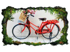 3D Wandtattoo Fahrrad rot Blume Retro Kunst Bild selbstklebend Wandbild sticker Wohnzimmer Wand Aufkleber 11H231, Wandbild Größe F:ca. 162cmx97cm