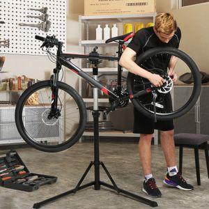 SONGMICS Fahrradständer 102 x 81 x (112-171) cm höhenverstellbar Reparaturständer aus Alu Montageständer mit magnetischer Werkzeugschale leicht klappbar schwarz SBR04B