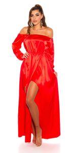 Glossy Off Shoulder Satin Maxi Kleid mit High Low-Effekt, Farbe: Rot, Größe: M