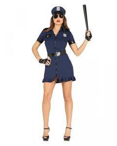 Schwarz-blaues Polizistin Kostüm für Fasching & Halloween Größe: M