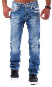 Cipo & Baxx Herren Denim Jeans Hose Kontrast Optik Nähte Vintage Look Straight Leg Cut Regular Fit C-0595, Grösse:W36/L32, Farbe:Blau