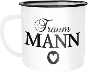Emaille-Tasse Traummann Traumfrau Geschenk Liebe Weihnachten Valentinstag Moonworks® Traumann weiß-schwarz Emailletasse