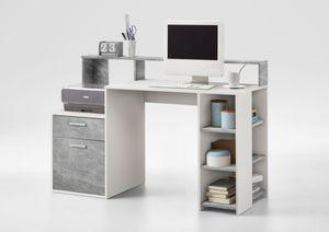 FMD 3006-001 Schreibtisch mit Ablagemöglichkeiten in Nachbildung Weiß/Beton Light Atelier, Maße ca. 138,5 x 92 x 53,5 cm (BxHxT)