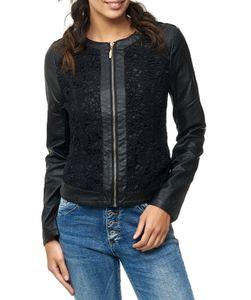 Damen Leder Jacke mit Spitze Biker Weste Leder Optik Floral, Farben:Schwarz, Größe:36