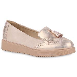 Mytrendshoe Damen Tassel Loafers Glitzer Slippers Quasten Keilabsatz Schuhe 820975, Farbe: Rosa, Größe: 39