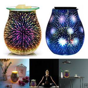 Elektrischer Wachsbrenner 3D LED Glaslampe Feuerwerk Aroma Diffuser Duftlampe