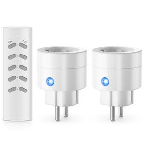 deleyCON Indoor Funksteckdosen Set Kompakt 2+1 für Innenbereich Haus Wohnung Büro Arbeitszimmer Kindersicherung 4-Kanal Fernbedienung schaltbare Steckdosen