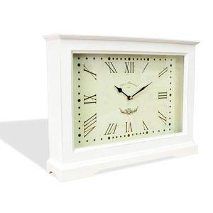 Tischuhr Kaminuhr Uhr Standuhr XXL mit Römischen Ziffern aus Holz im Shabby Chic Stil Used Look| 1702 | 33282 | L x B x H 40 x 8 x 30 cm | Weiß