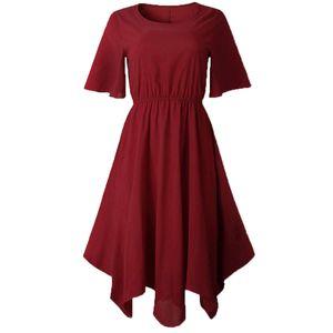 Summer Lady einfarbig unregelmäßig enge Taille Kurzarm Midi-Kleid mit rundem Hals-Weinrot / Größe:XL