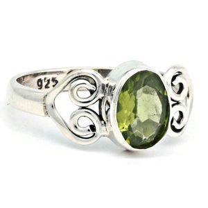 Peridot Ring 925 Silber Sterlingsilber Damenring grün (MRI 186-59),  Ringgröße:52 mm / Ø 16.6 mm