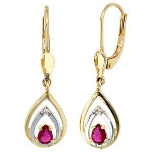 JOBO Boutons 585 Gold Gelbgold 2 Diamanten Brillanten 2 Rubine rot Ohrringe Ohrhänger