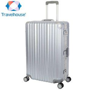 Travelhouse London - Hartschalen Polycarbonat Alu Koffer Trolley Reise Urlaub 90l silber