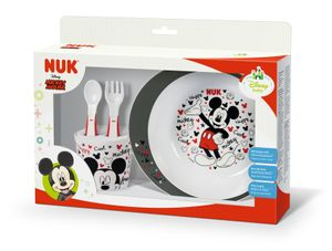 NUK 80890653 Disney Mickey Esslernset, Geschenkbox, ab 9 Monate