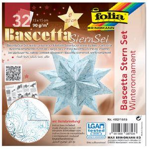 folia Faltblätter Bascetta-Stern 150 x 150 mm 90 g/qm 32 Blatt eisblau bedruckt